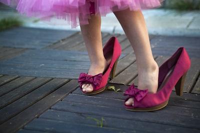 Roze schoenen niet praktisch